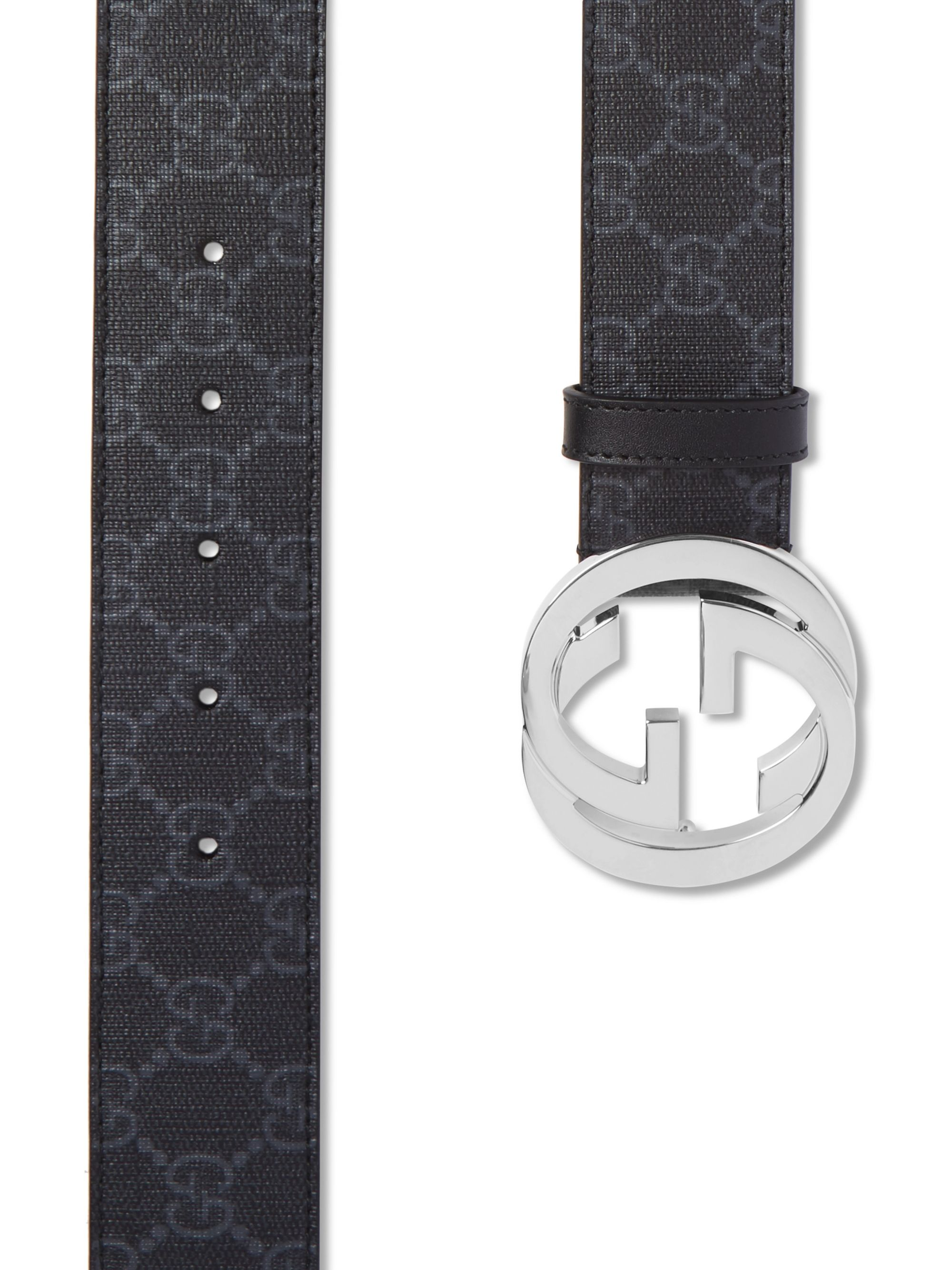 Gucci 4cm Black Monogrammed Coated-Canvas Belt