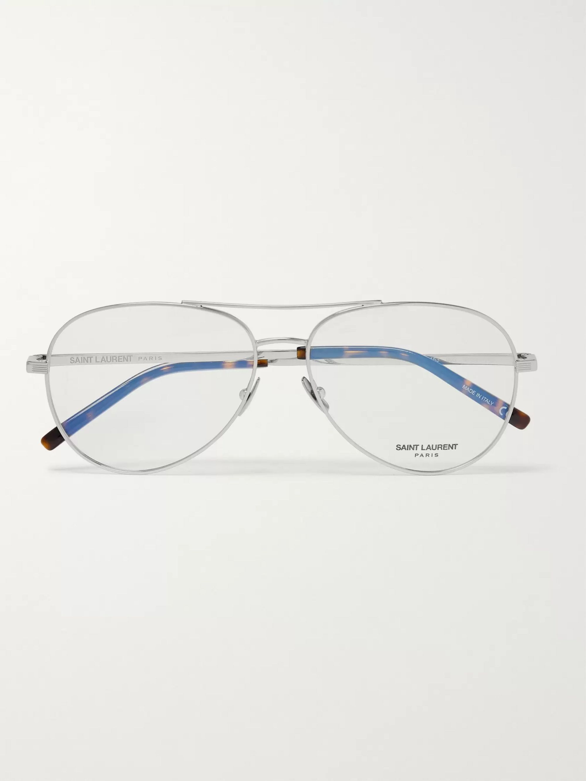 SAINT LAURENT Aviator-Style Silver-Tone Optical Glasses
