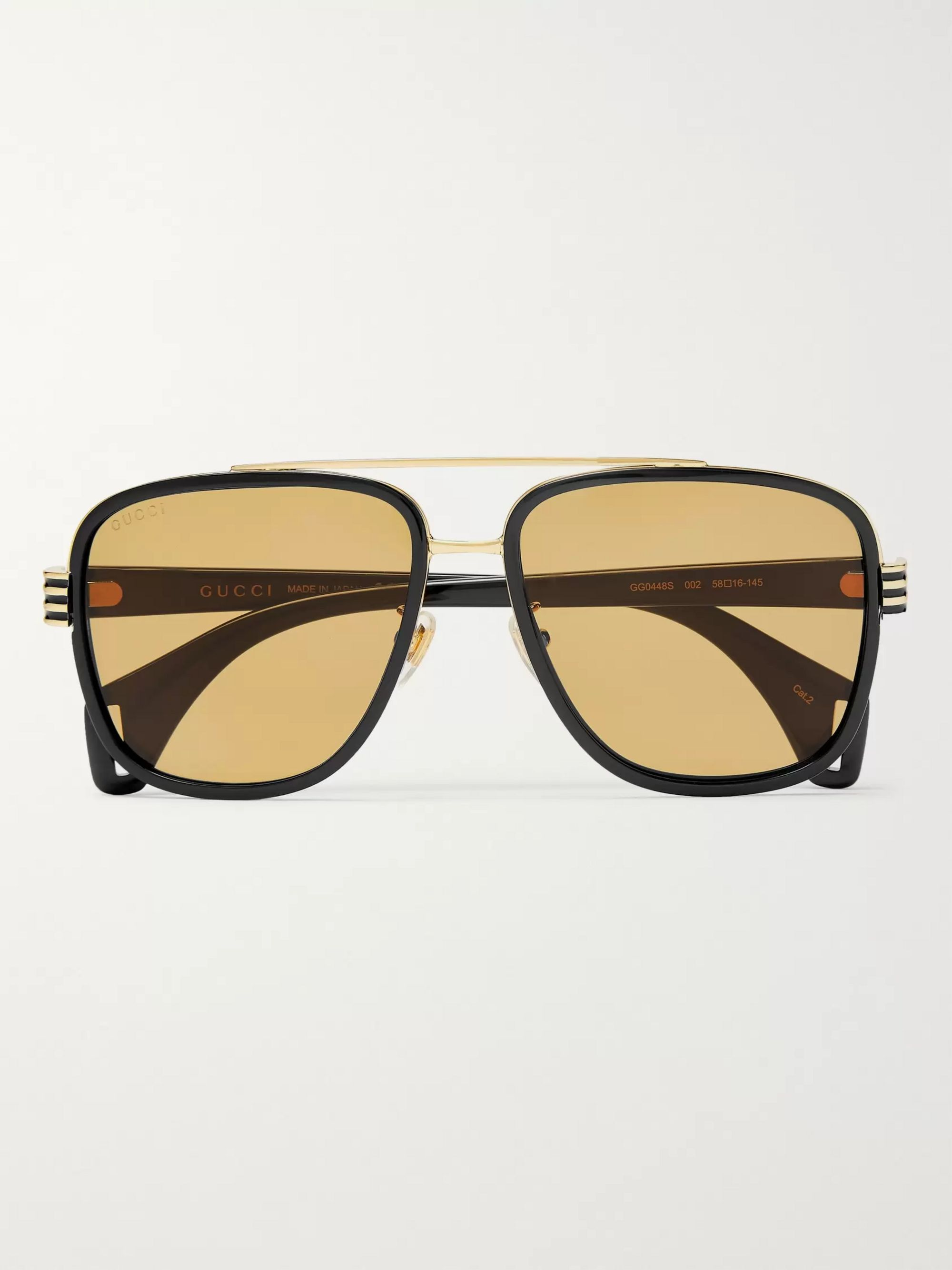 Gucci Aviator-Style Gold-Tone and Acetate Sunglasses