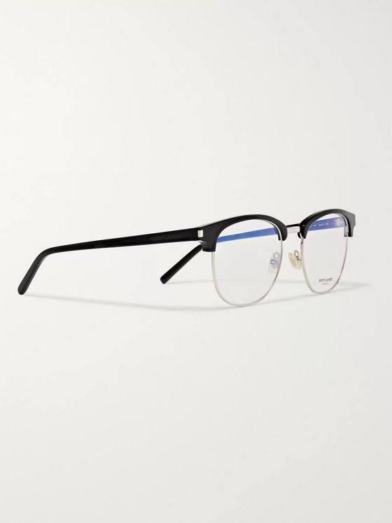 SAINT LAURENT D-Frame Acetate and Silver-Tone Optical Glasses