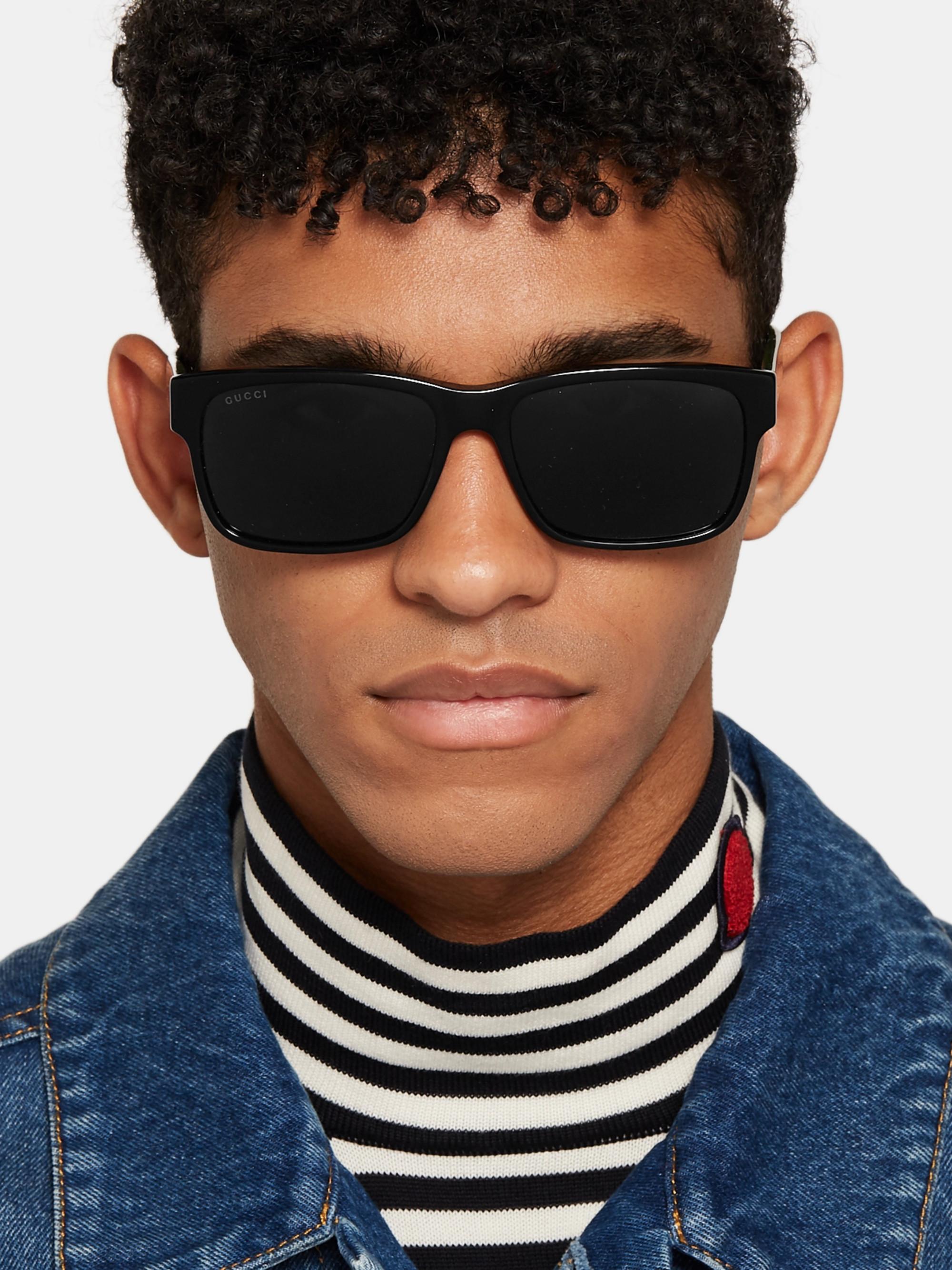 6896c329285d Black Square-Frame Striped Acetate Sunglasses | Gucci | MR PORTER