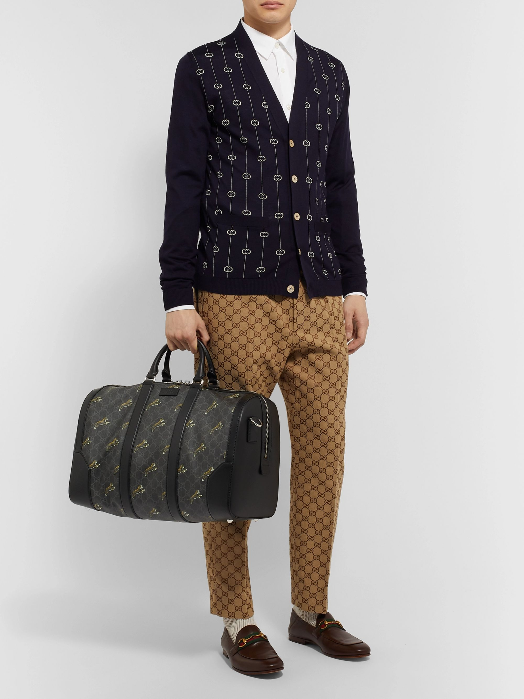 Gucci Leather-Trimmed Monogrammed Coated-Canvas Holdall