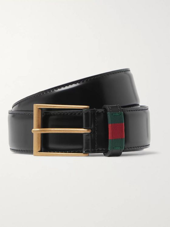 Gucci 3.5cm Black Webbing-Trimmed Patent-Leather Belt