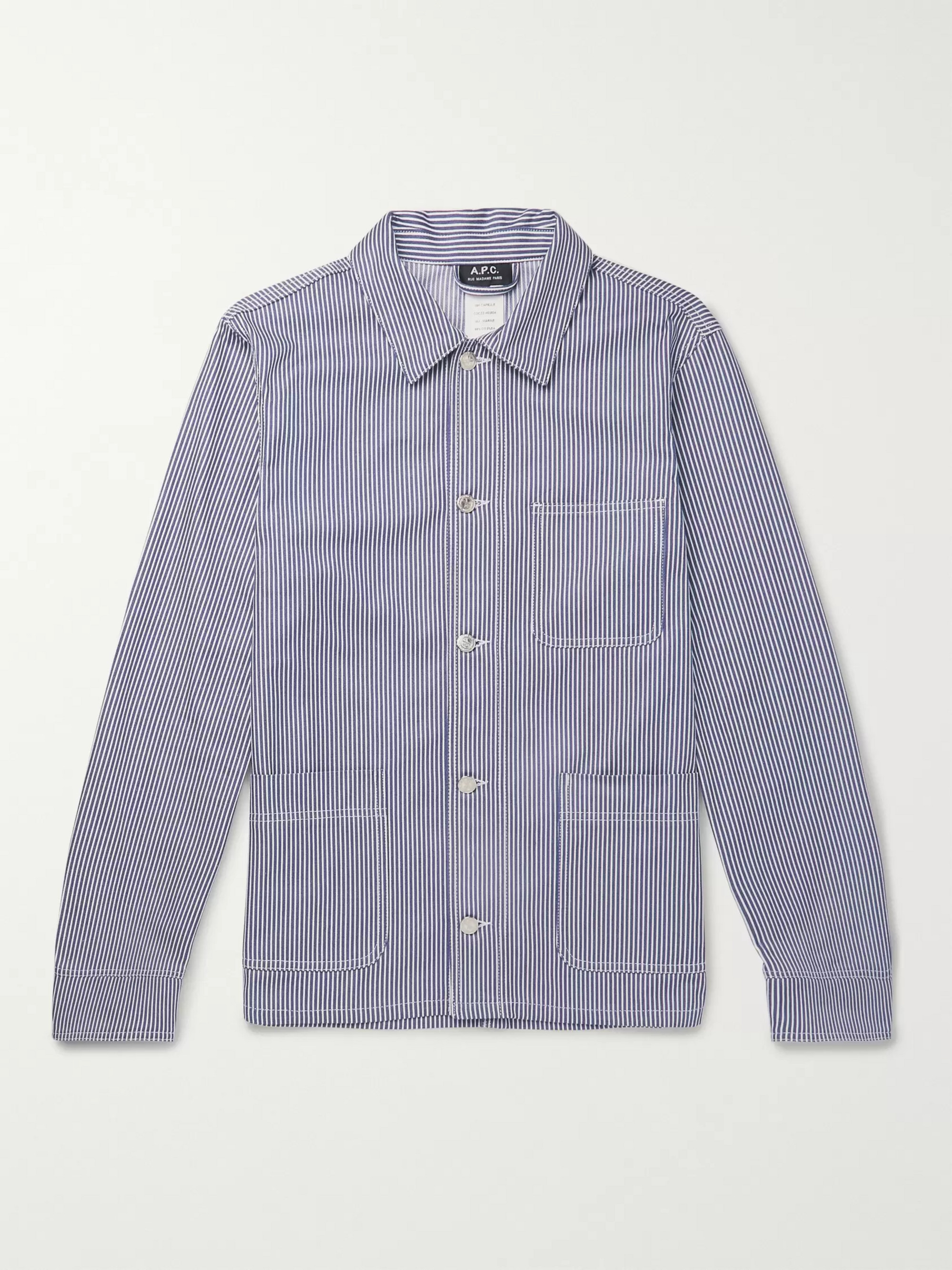 A.P.C. Striped Cotton-Twill Shirt Jacket