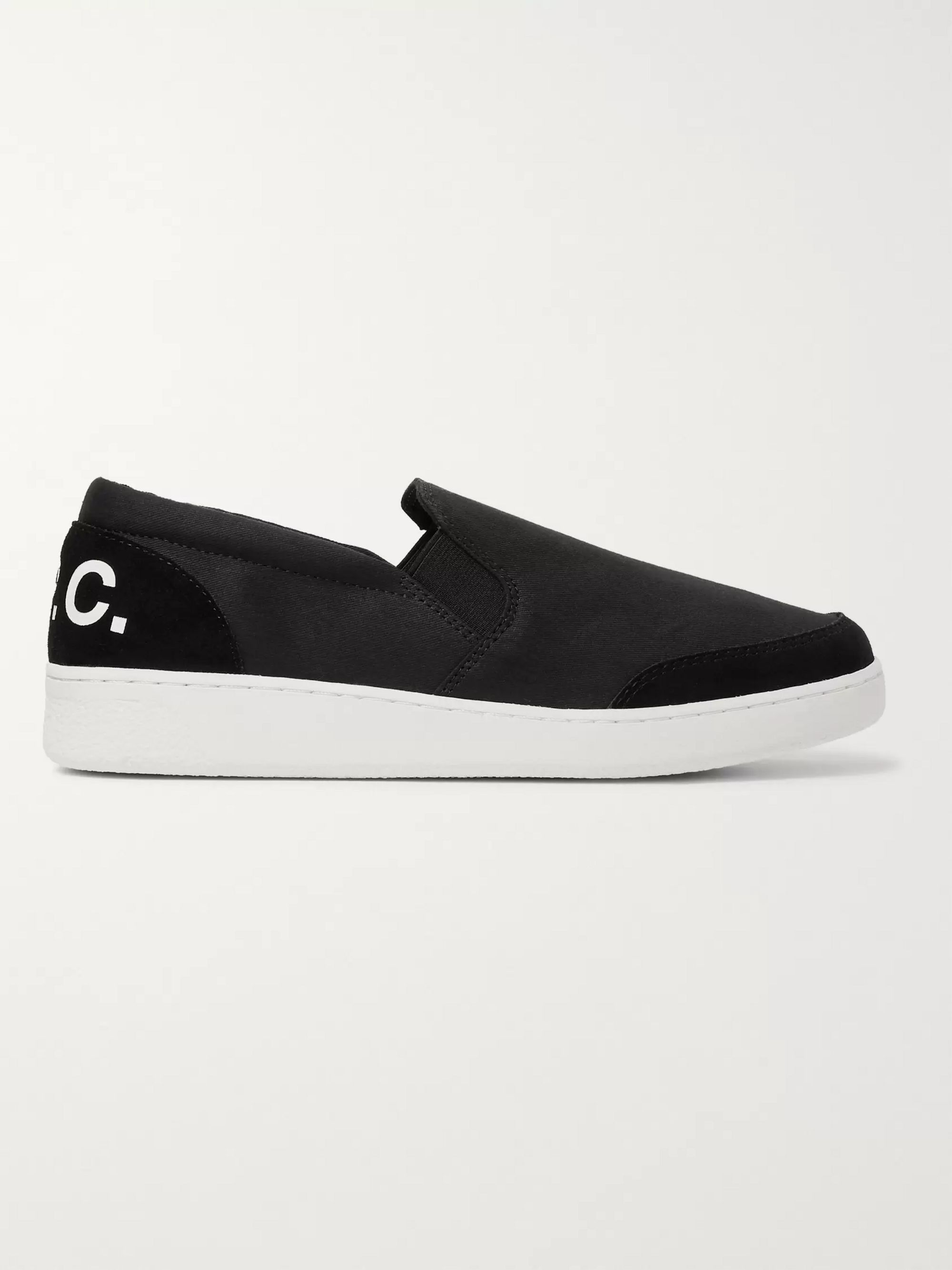 A.P.C. Cole Logo-Print Suede-Trimmed Canvas Slip-On Sneakers