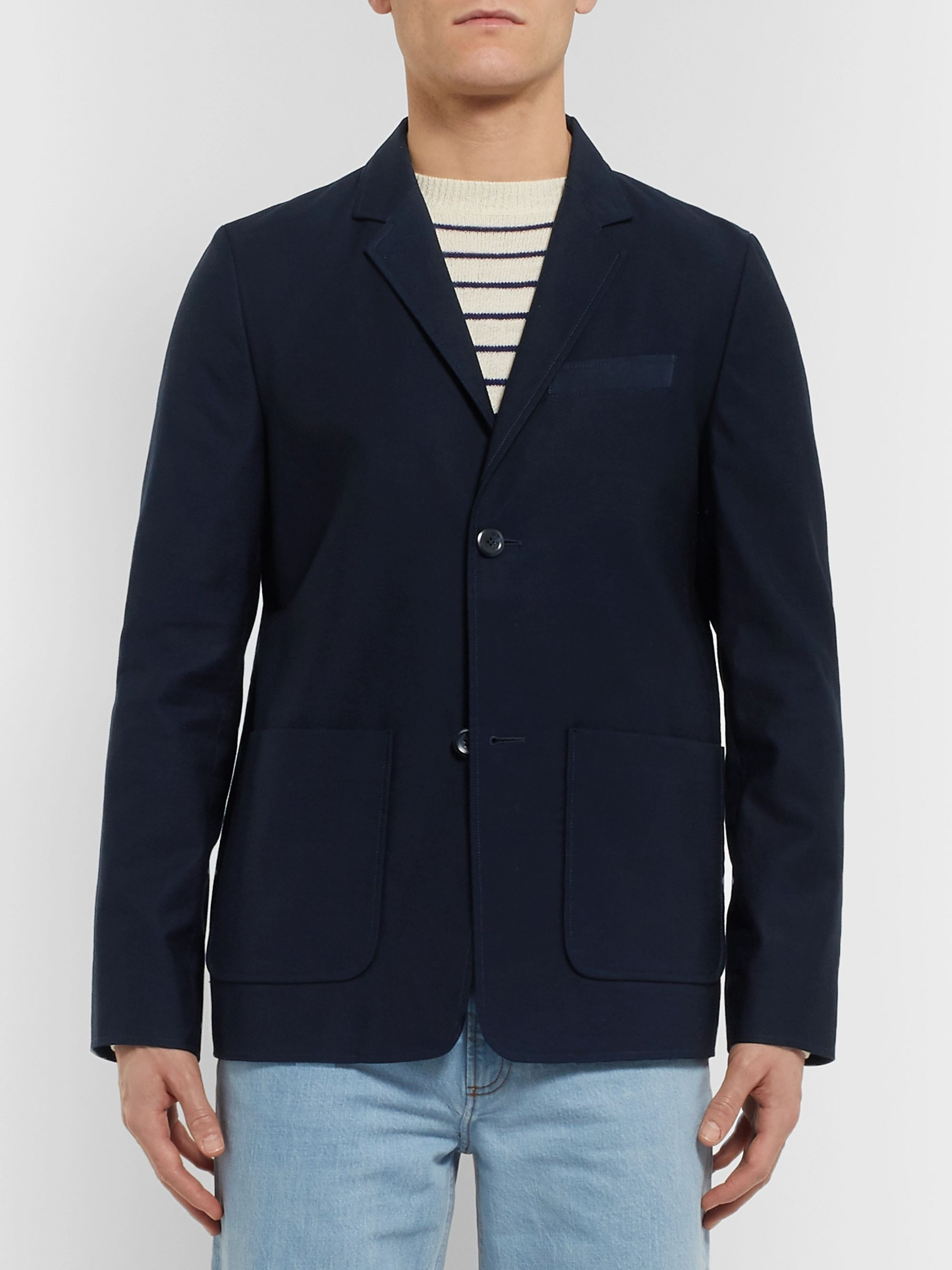 A.P.C. Navy Unstructured Cotton-Faille Blazer