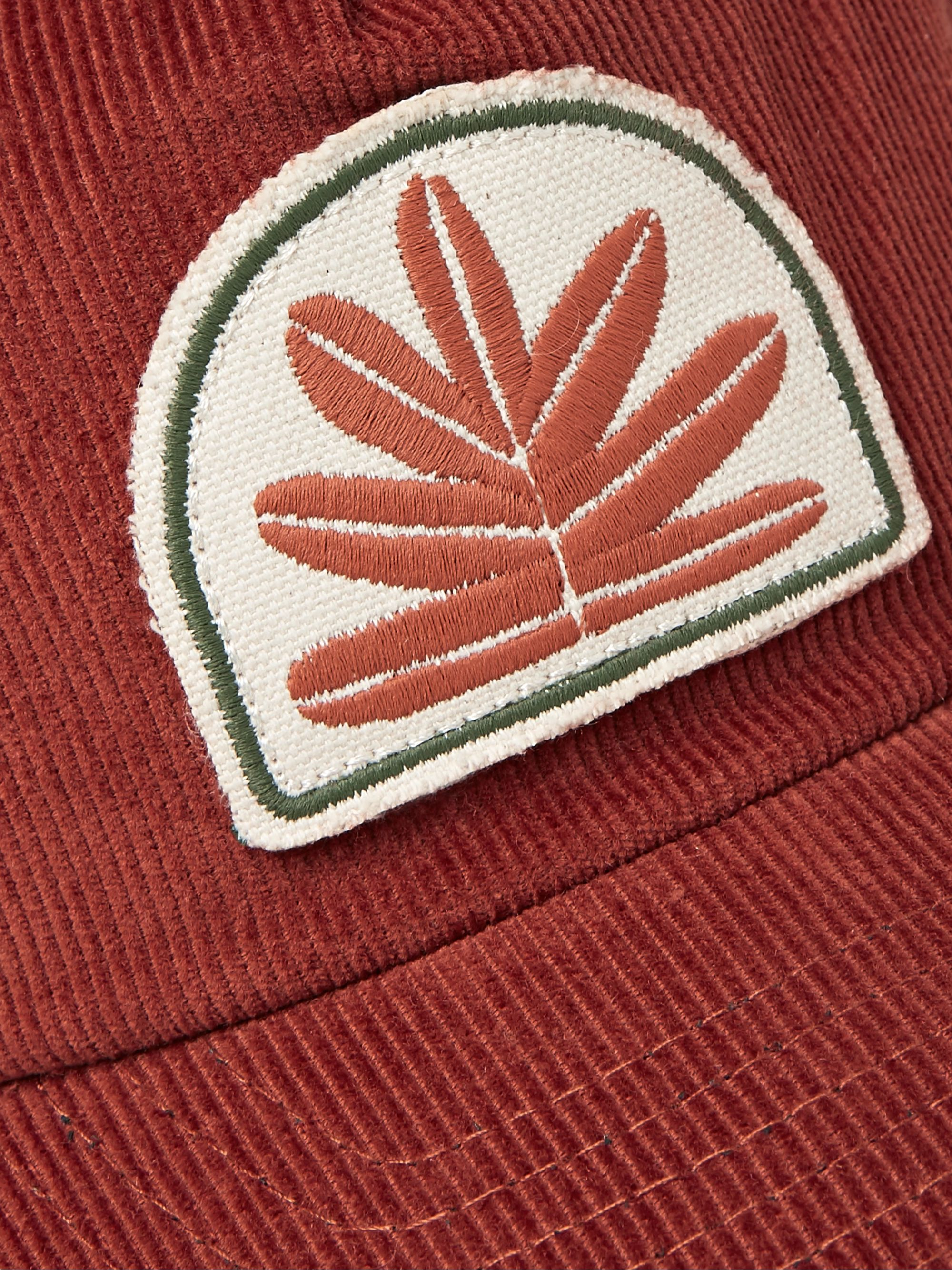 Mollusk Sweet Leaf Appliquéd Cotton-Corduroy Baseball Cap