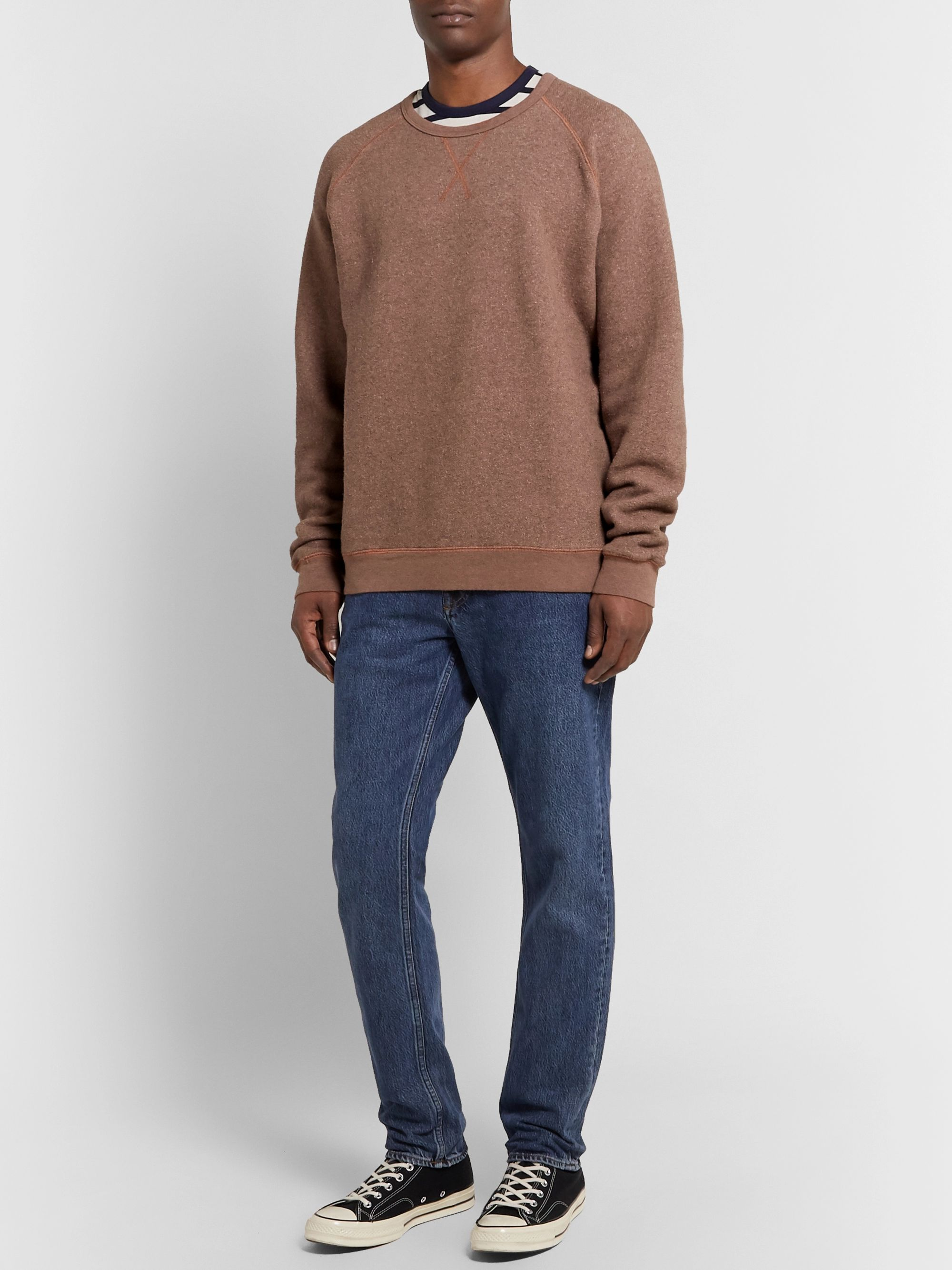 Mélange Fleece Back Cotton Blend Sweatshirt