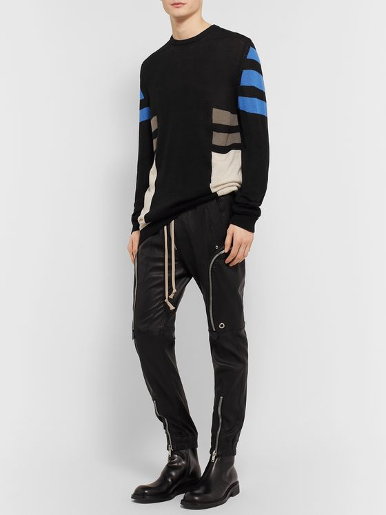 Rick Owens Colour-Block Virgin Wool Sweater