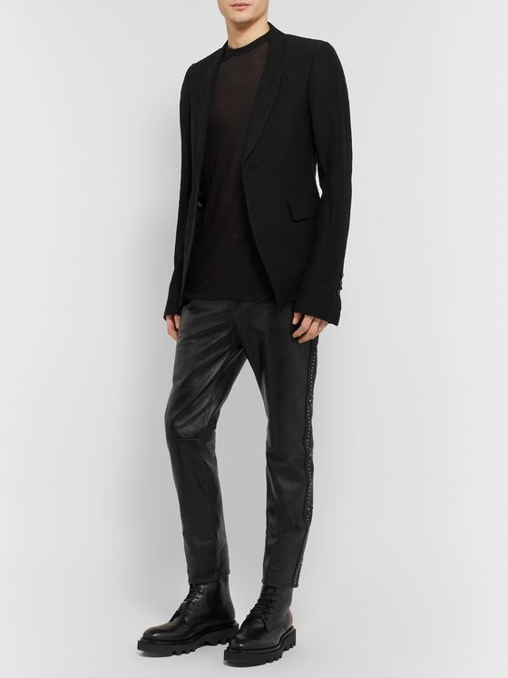 Rick Owens Black Slim-Fit Wool-Blend Seersucker Suit Jacket