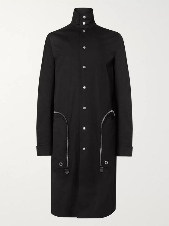 Rick Owens Leather-Trimmed Cotton-Blend Canvas Trench Coat