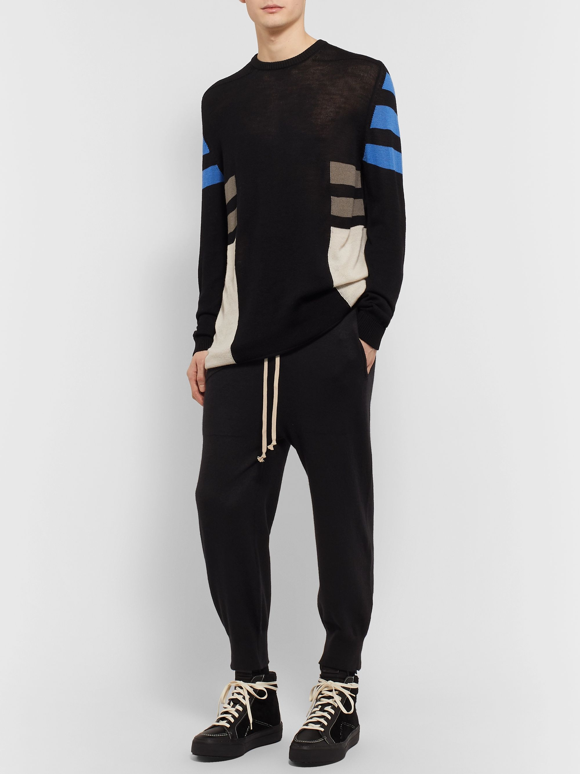 RICK OWENS Slim-Fit Tapered Cropped Boiled Cashmere Sweatpants