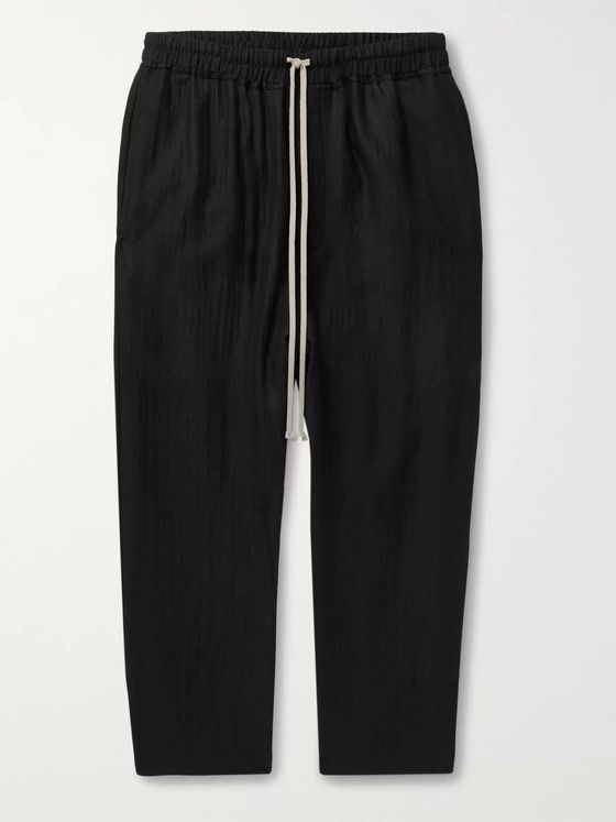 Rick Owens Black Cropped Wool-Blend Seersucker Drawstring Trousers