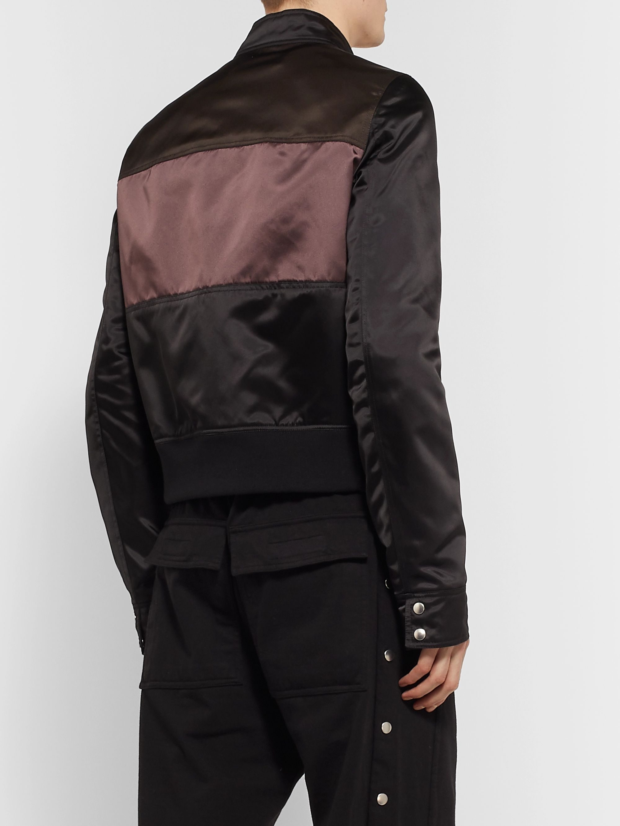 Rick Owens Slim-Fit Panelled Nylon Bomber Jacket
