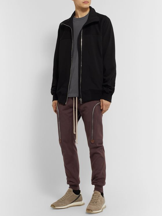 Rick Owens Slim-Fit Tapered Cotton-Jersey Track Pants