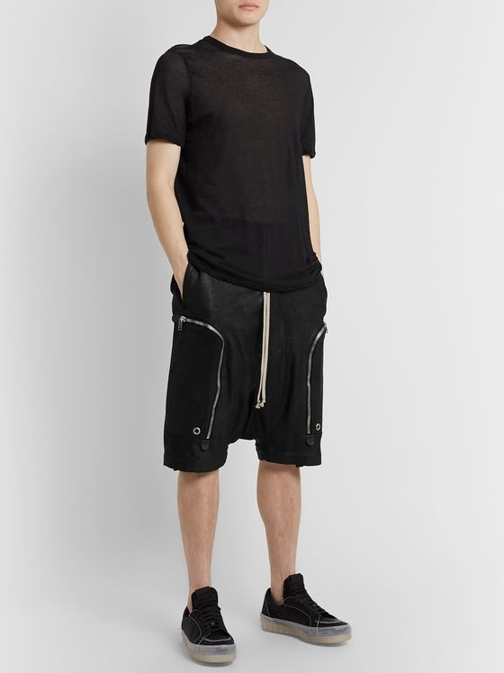 Rick Owens Basket Blistered-Leather Drawstring Shorts