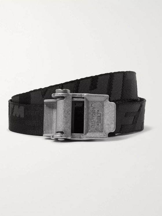Off-White 2.5cm Black 2.0 Industrial Logo-Jacquard Webbing Belt