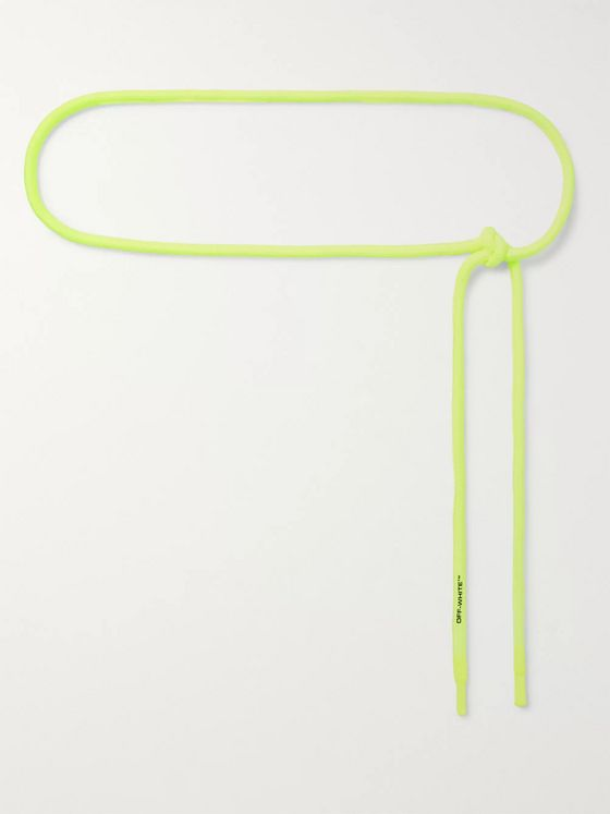 Off-White Logo-Print Neon Cotton-Cord Belt