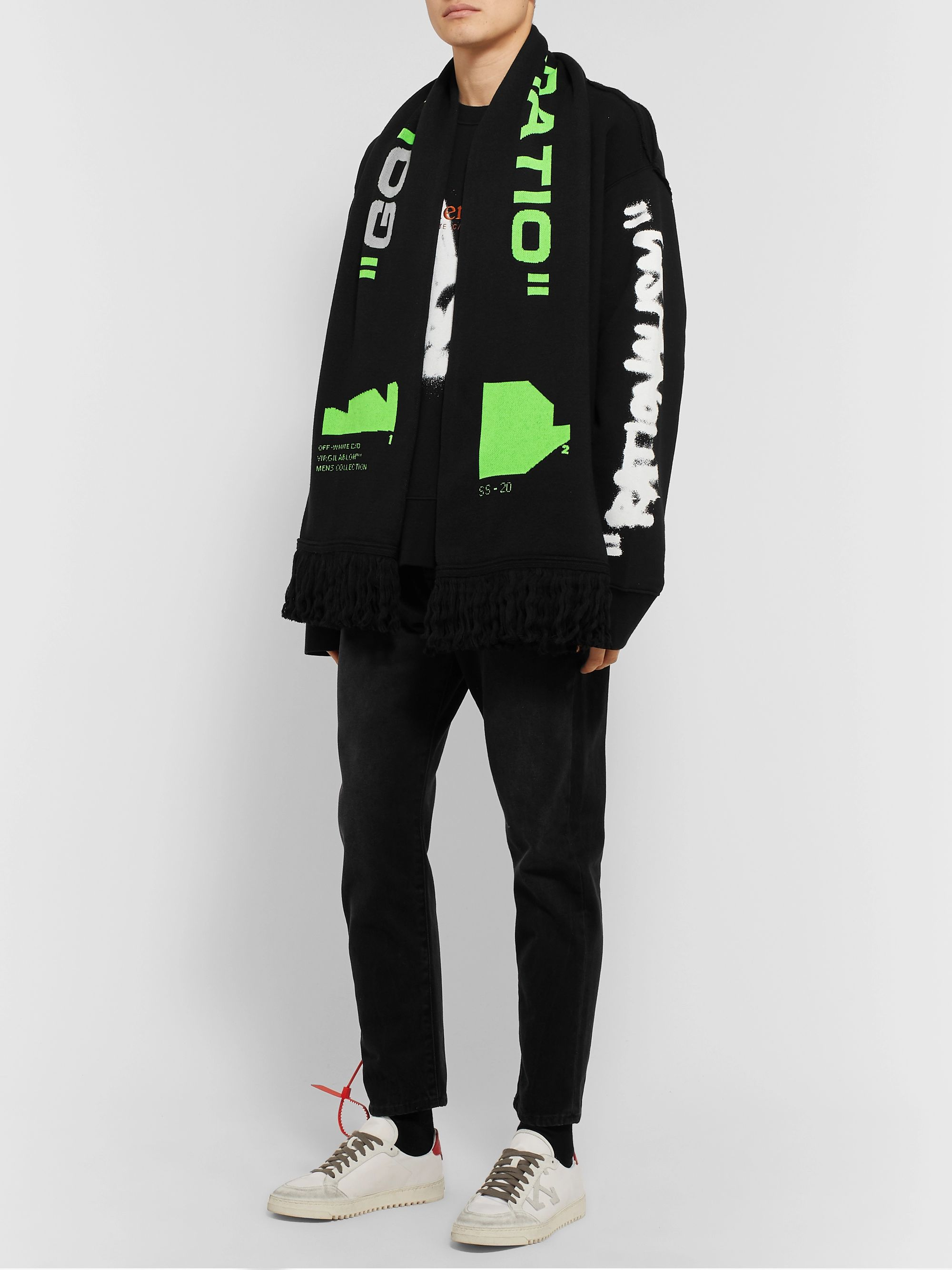 Off-White Fringed Logo-Jacquard Knitted Scarf