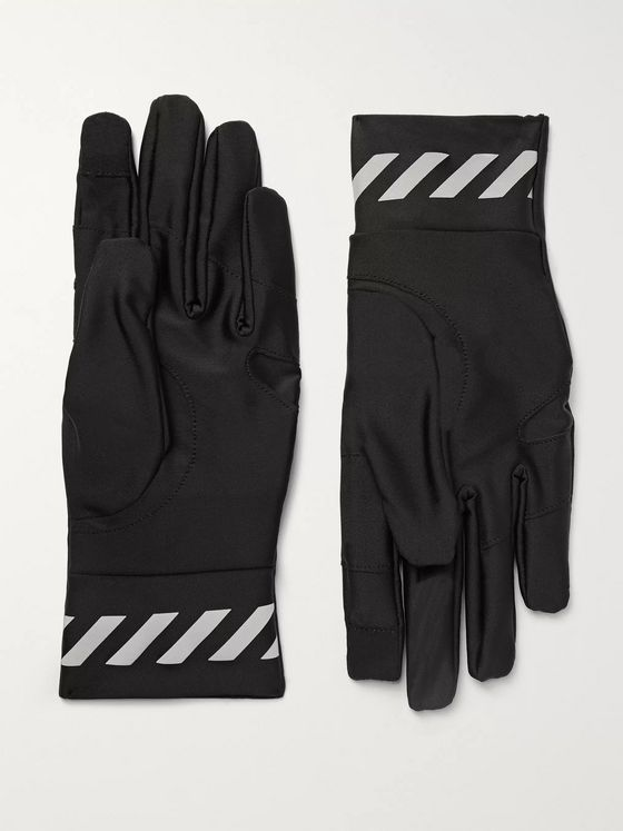 Off-White Logo-Print Stretch-Shell Gloves