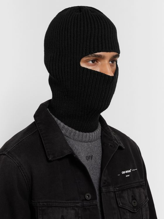 Off-White Ribbed Cotton-Blend Balaclava