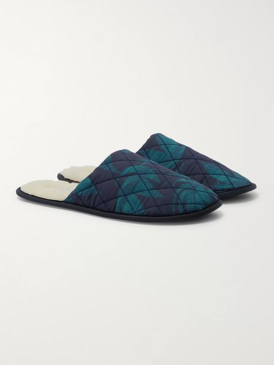Desmond & Dempsey Byron Faux Shearling-Lined Printed Cotton Slippers