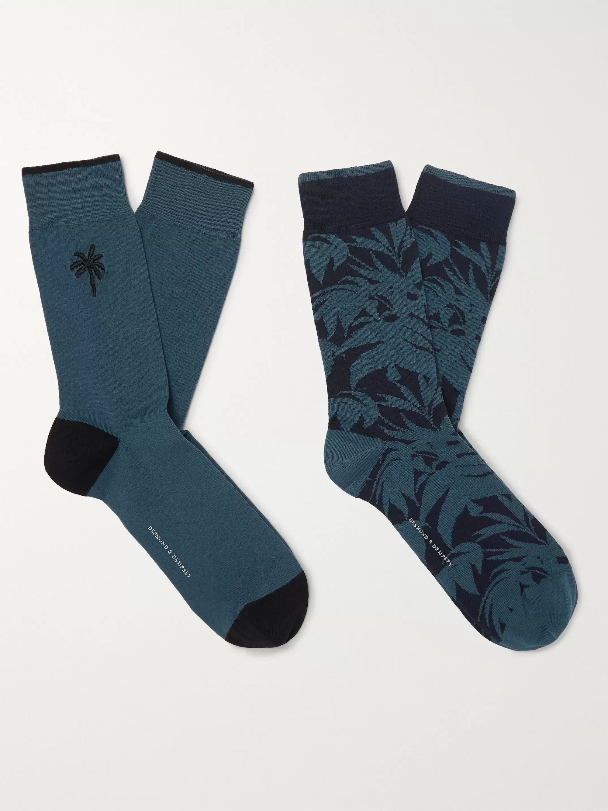 Desmond & Dempsey Two-Pack Embroidered Stretch Cotton-Blend Jacquard Socks