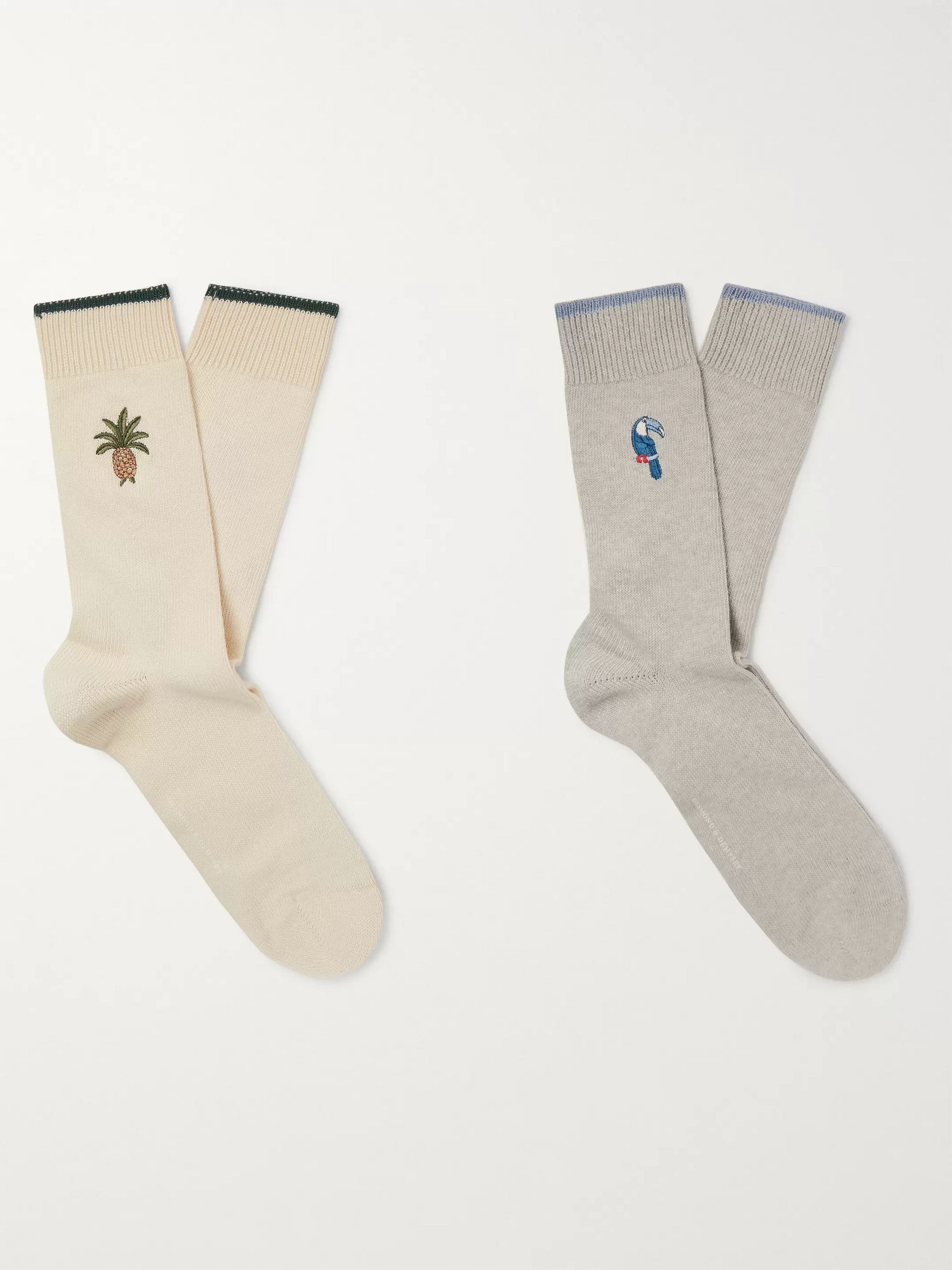 Two Pack Embroidered Stretch Cotton Blend Socks by Desmond & Dempsey