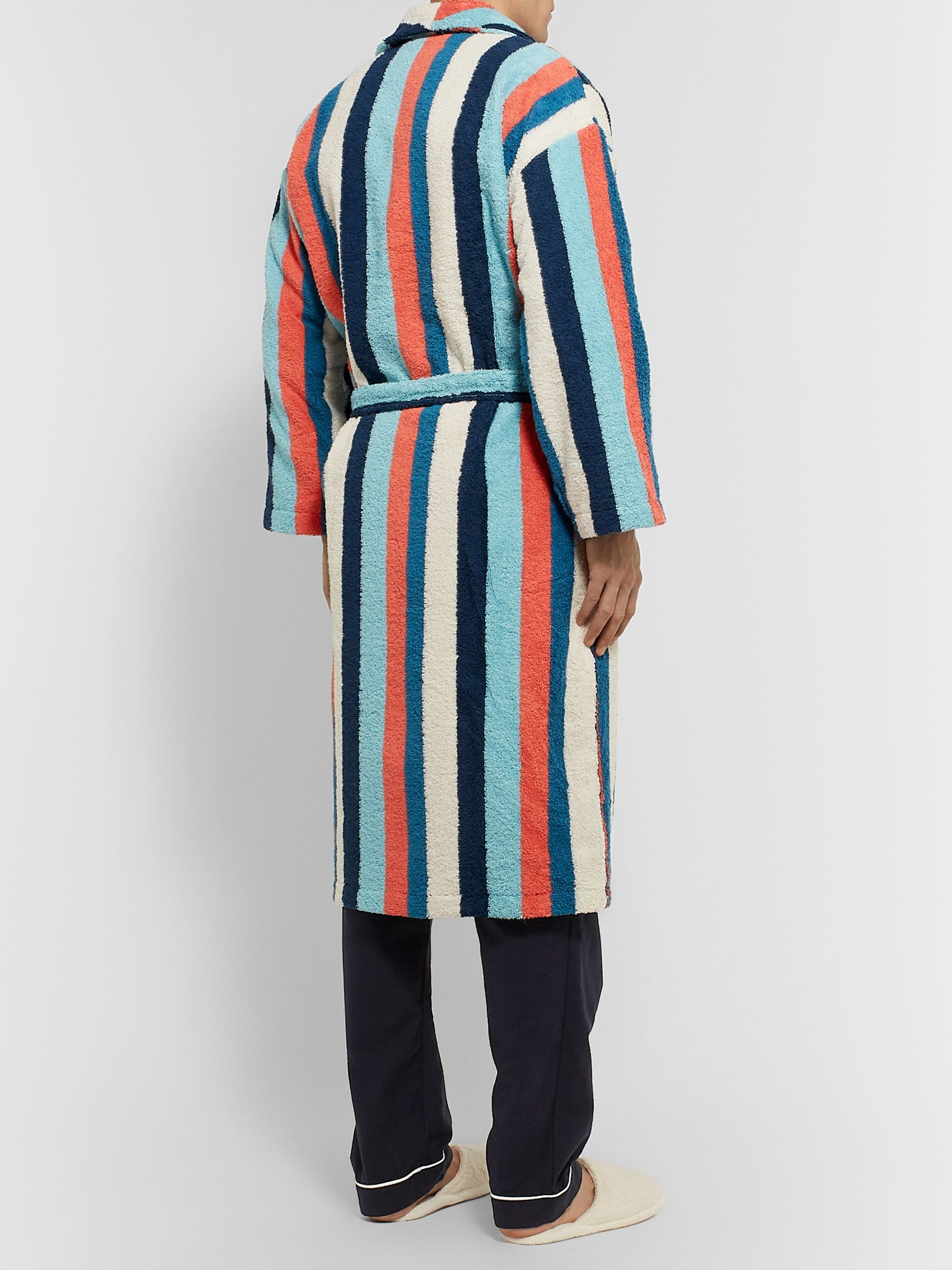 Desmond & Dempsey Striped Cotton-Blend Terry Robe