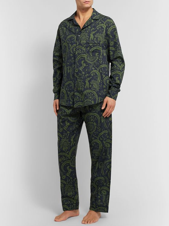 Desmond & Dempsey Camp-Collar Printed Cotton Pyjama Shirt