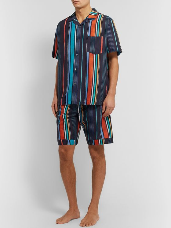 Desmond & Dempsey Striped Cotton Pyjama Shorts
