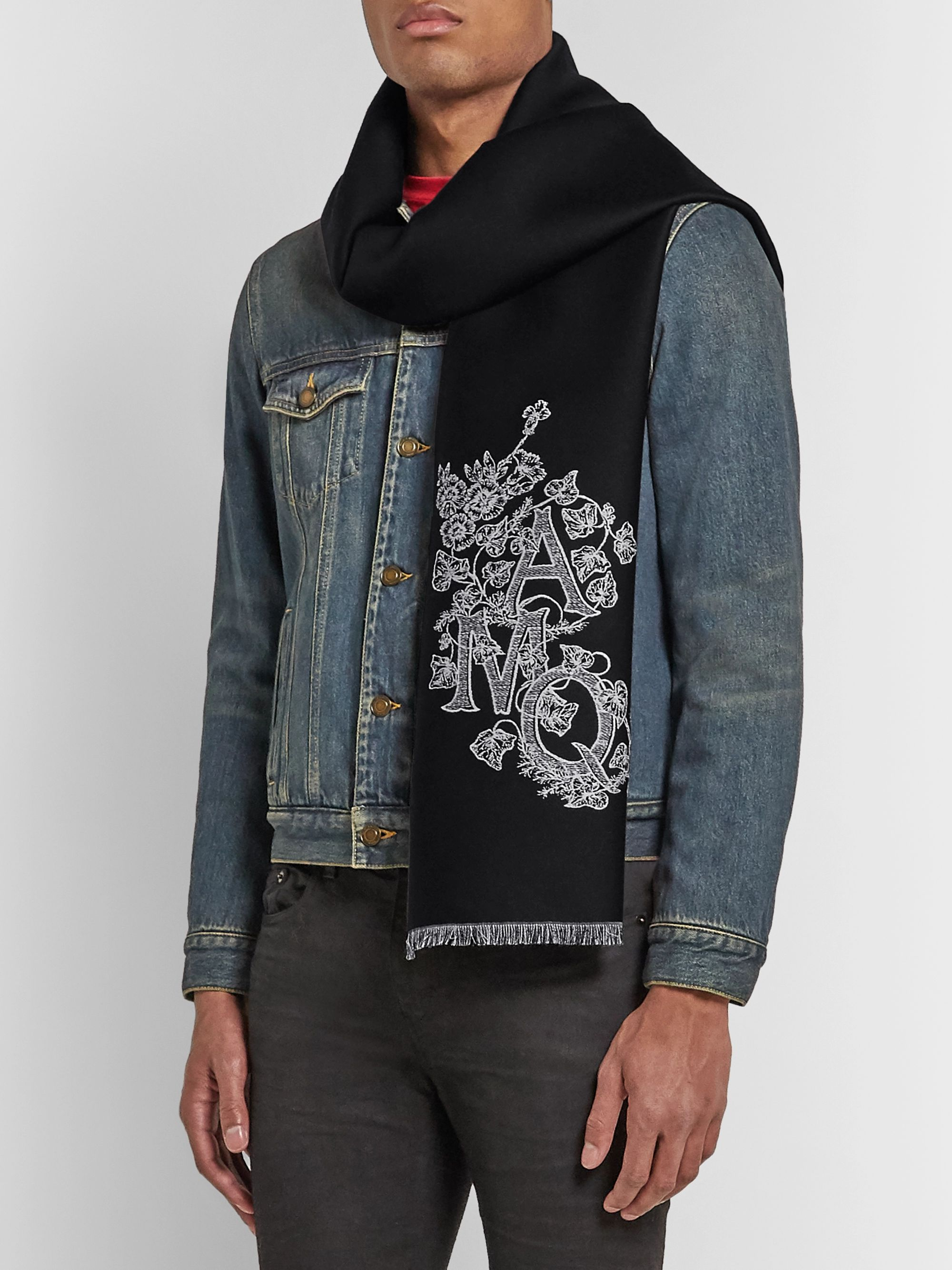 Alexander McQueen Reversible Logo-Embroidered Wool and Silk-Blend Jacquard Scarf