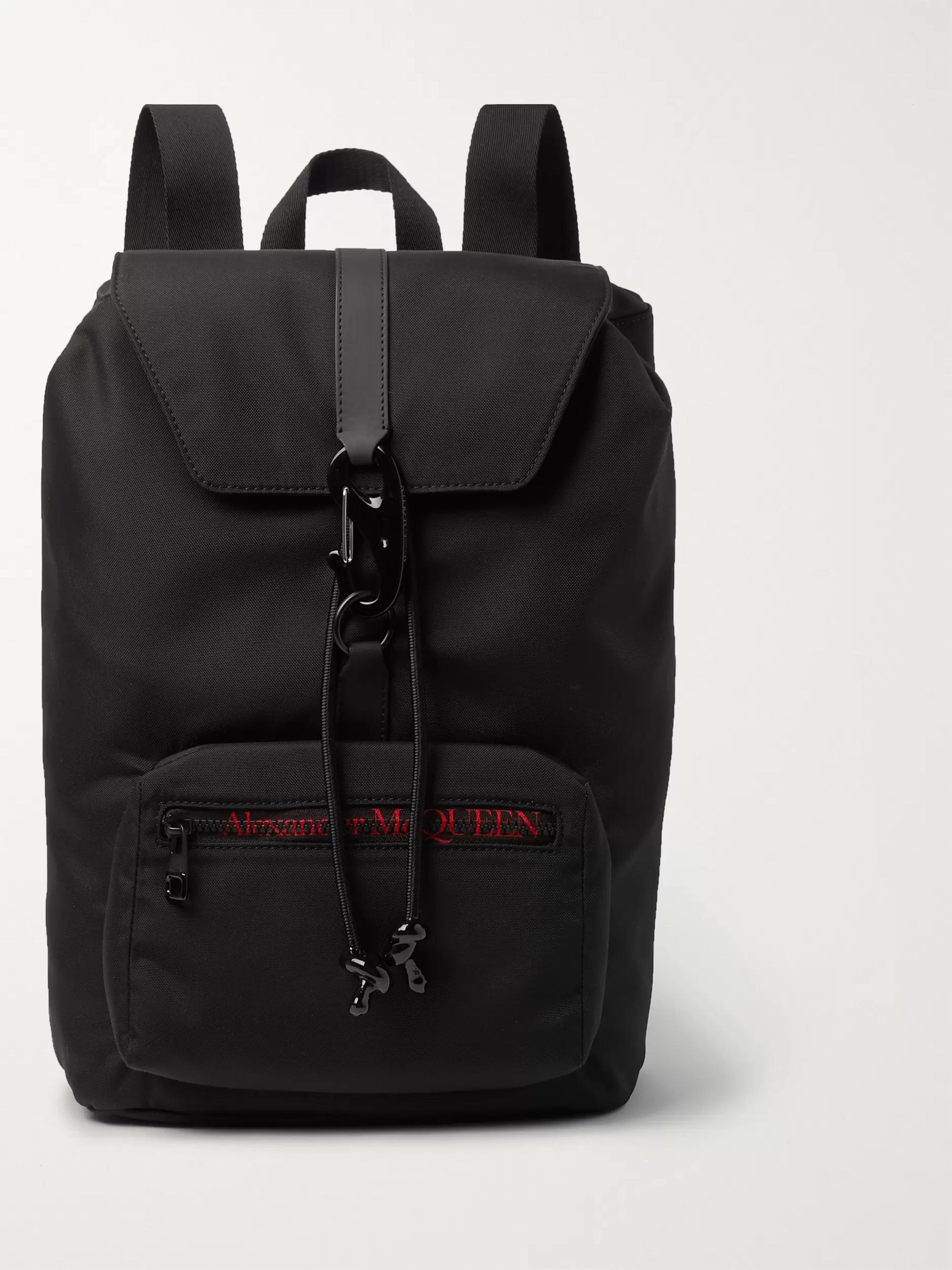 Alexander McQueen Leather-Trimmed Logo-Print Shell Backpack