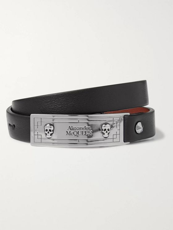 Alexander McQueen Leather and Silver-Tone Wrap Bracelet
