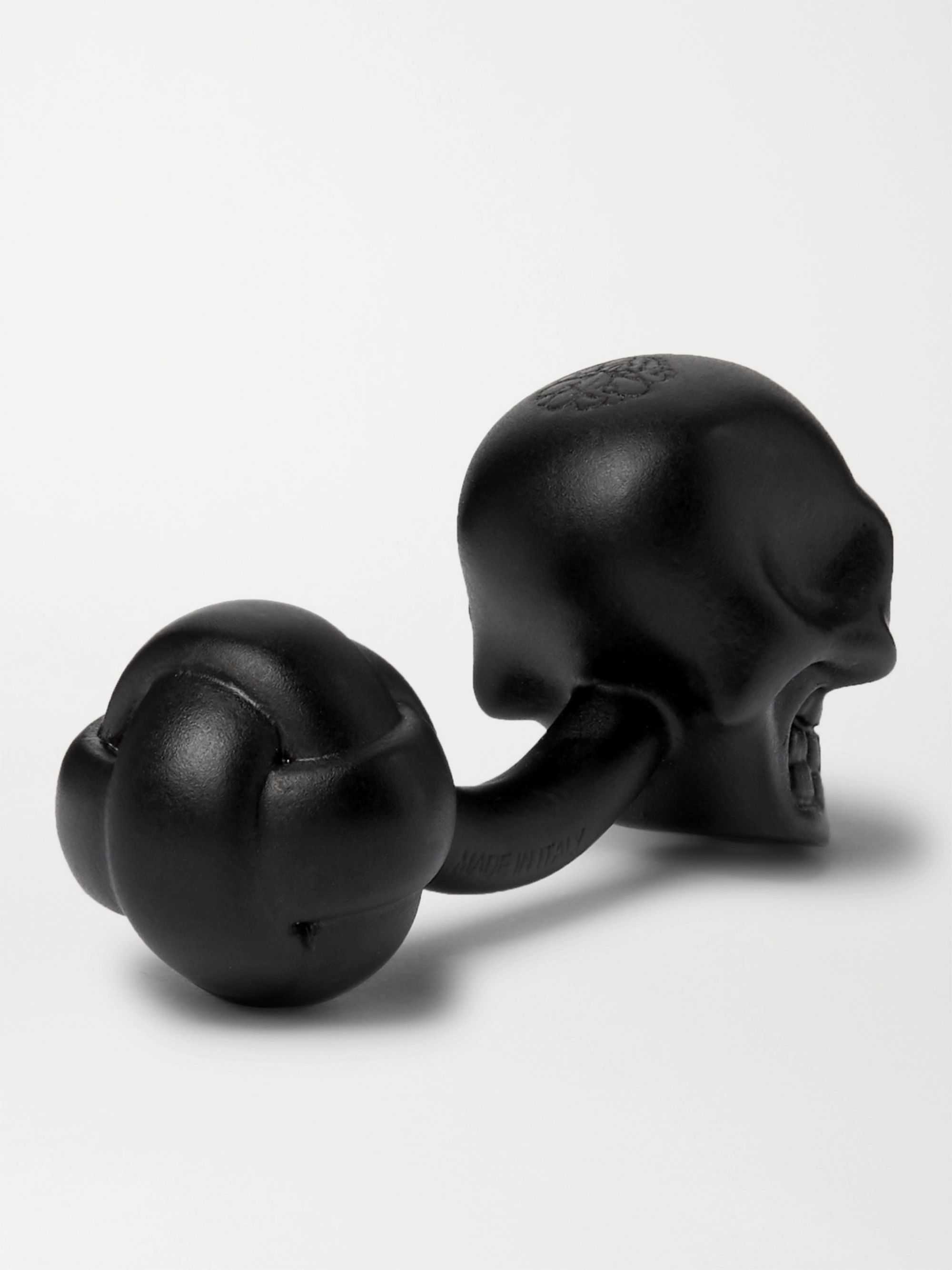 Black Crystal-embellished Blackened Brass Cufflinks   Alexander Mcqueen
