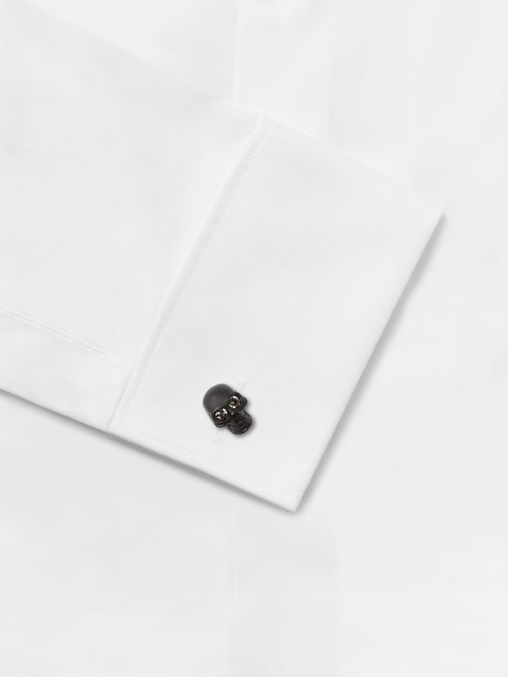 ALEXANDER MCQUEEN Crystal-Embellished Blackened Brass Cufflinks
