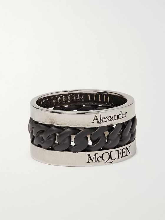 Alexander McQueen Blackened Palladium-Plated Ring