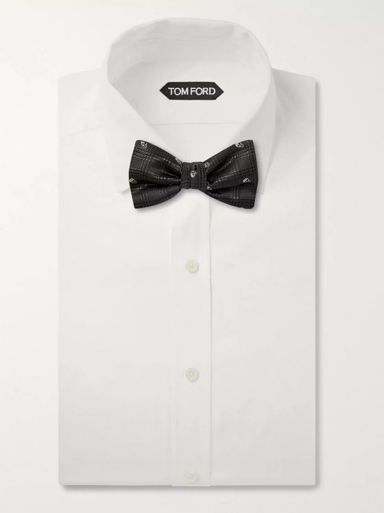 Alexander McQueen Pre-Tied Embroidered Checked Silk-Jacquard Bow Tie