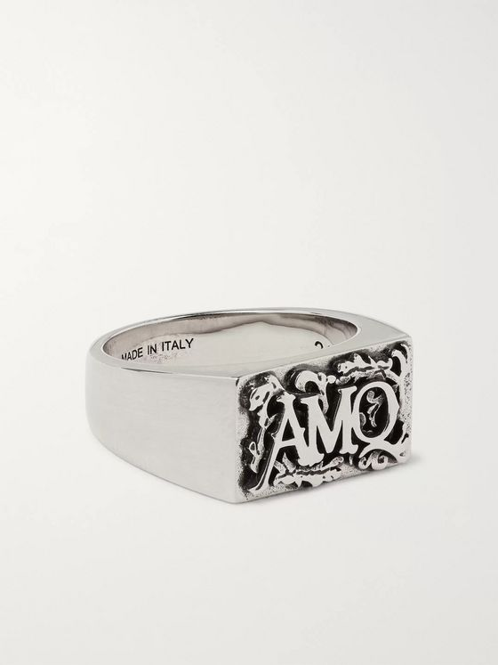 Alexander McQueen Logo-Detailed Silver-Tone Ring