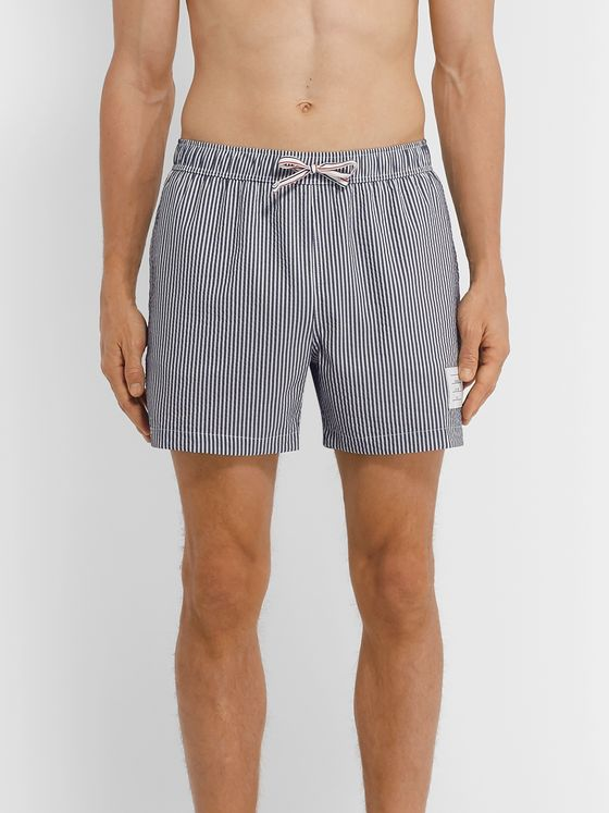 Thom Browne Slim-Fit Short-Length Striped Seersucker Swim Shorts