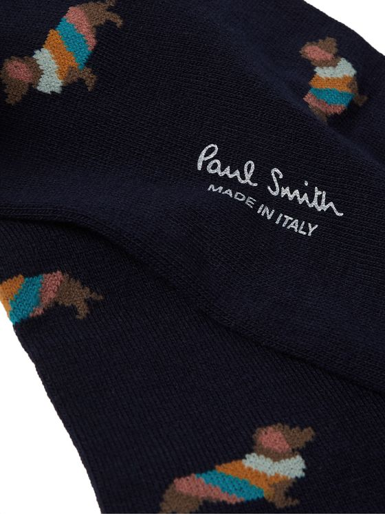 Paul Smith Intarsia Cotton-Blend Socks