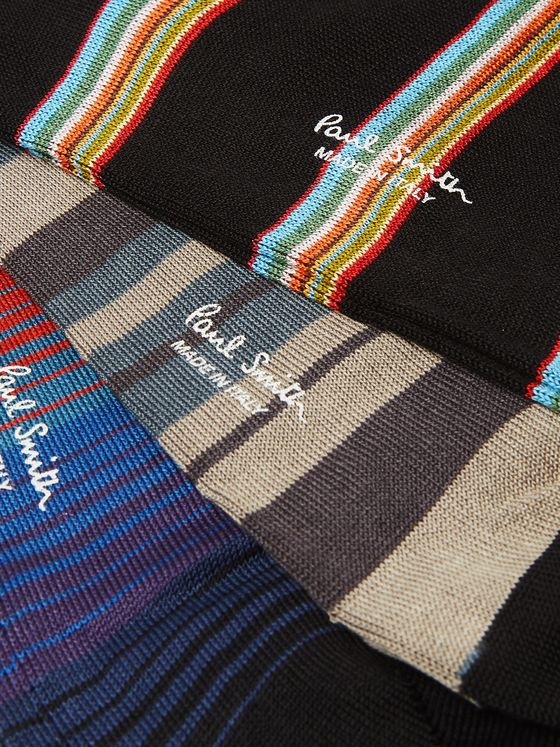 Paul Smith Three-Pack Striped Cotton-Blend Socks