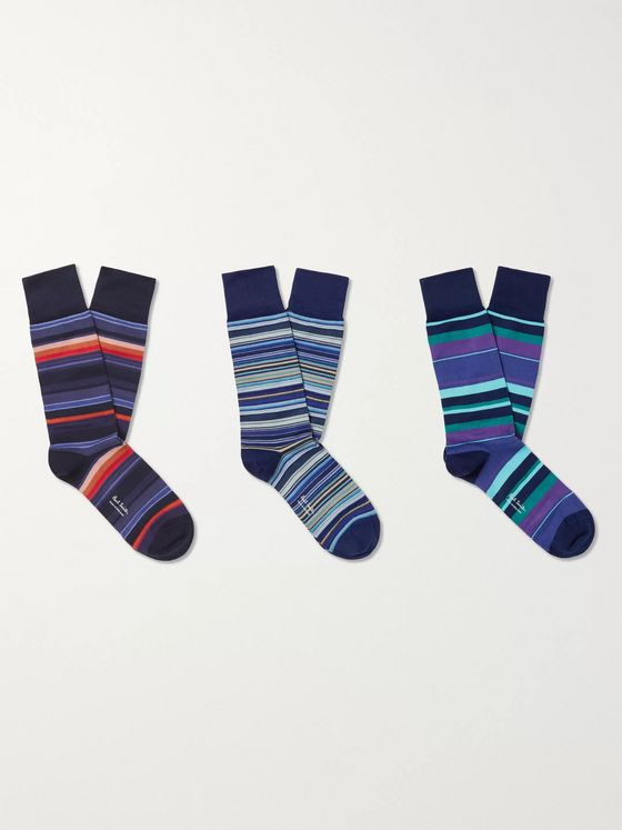 Paul Smith Three-Pack Striped Stretch-Cotton Blend Socks