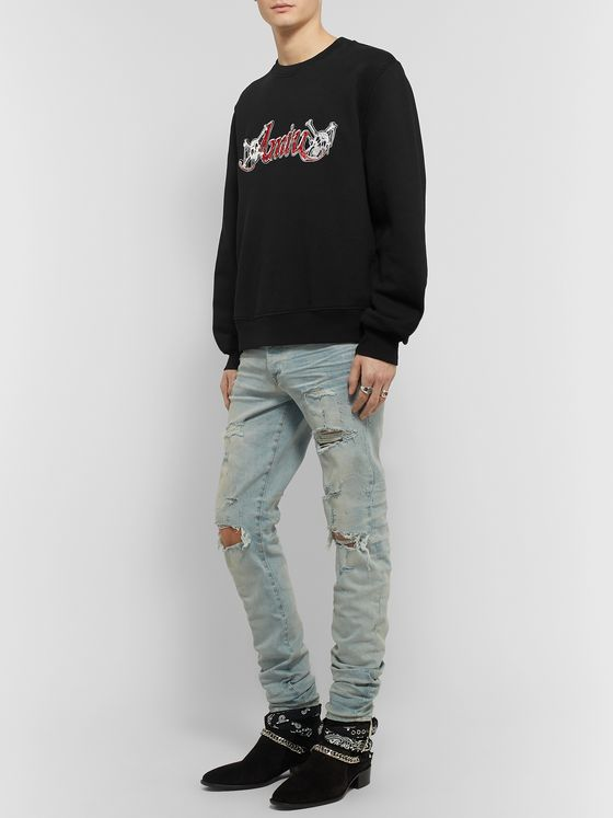 AMIRI + Mötley Crüe Logo-Embroidered Loopback Cotton-Jersey Sweatshirt