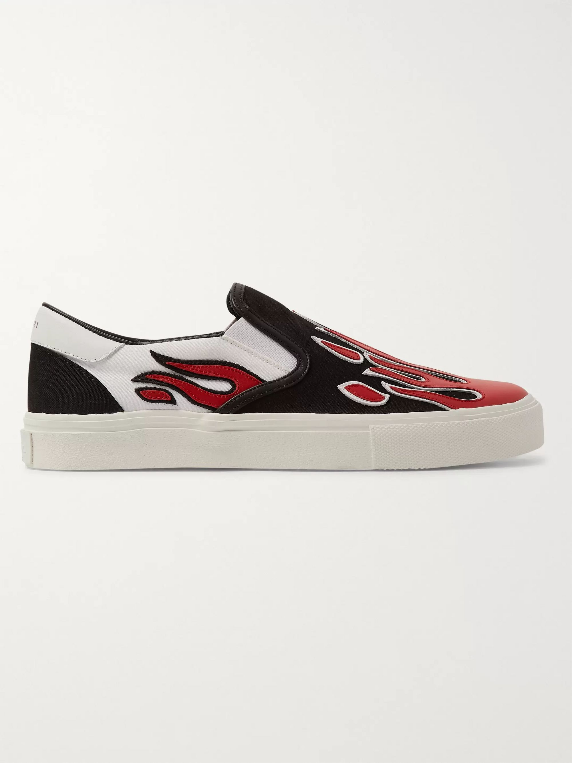 AMIRI Skel Toe Leather-Appliquéd Canvas Slip-On Sneakers