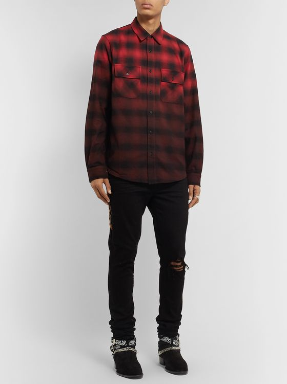 AMIRI Dégradé Checked Cotton-Flannel Shirt