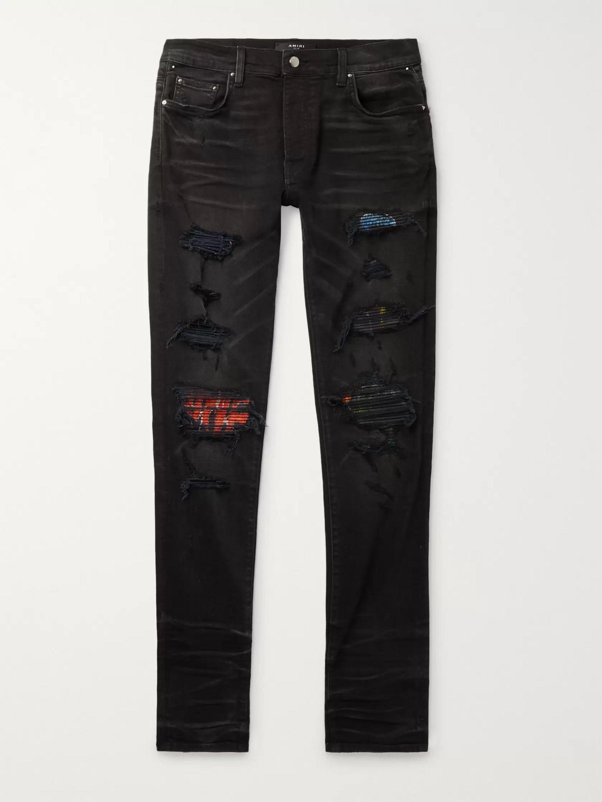 아미리 Amiri Black MX1 Skinny-Fit Panelled Distressed Stretch-Denim Jeans,Black
