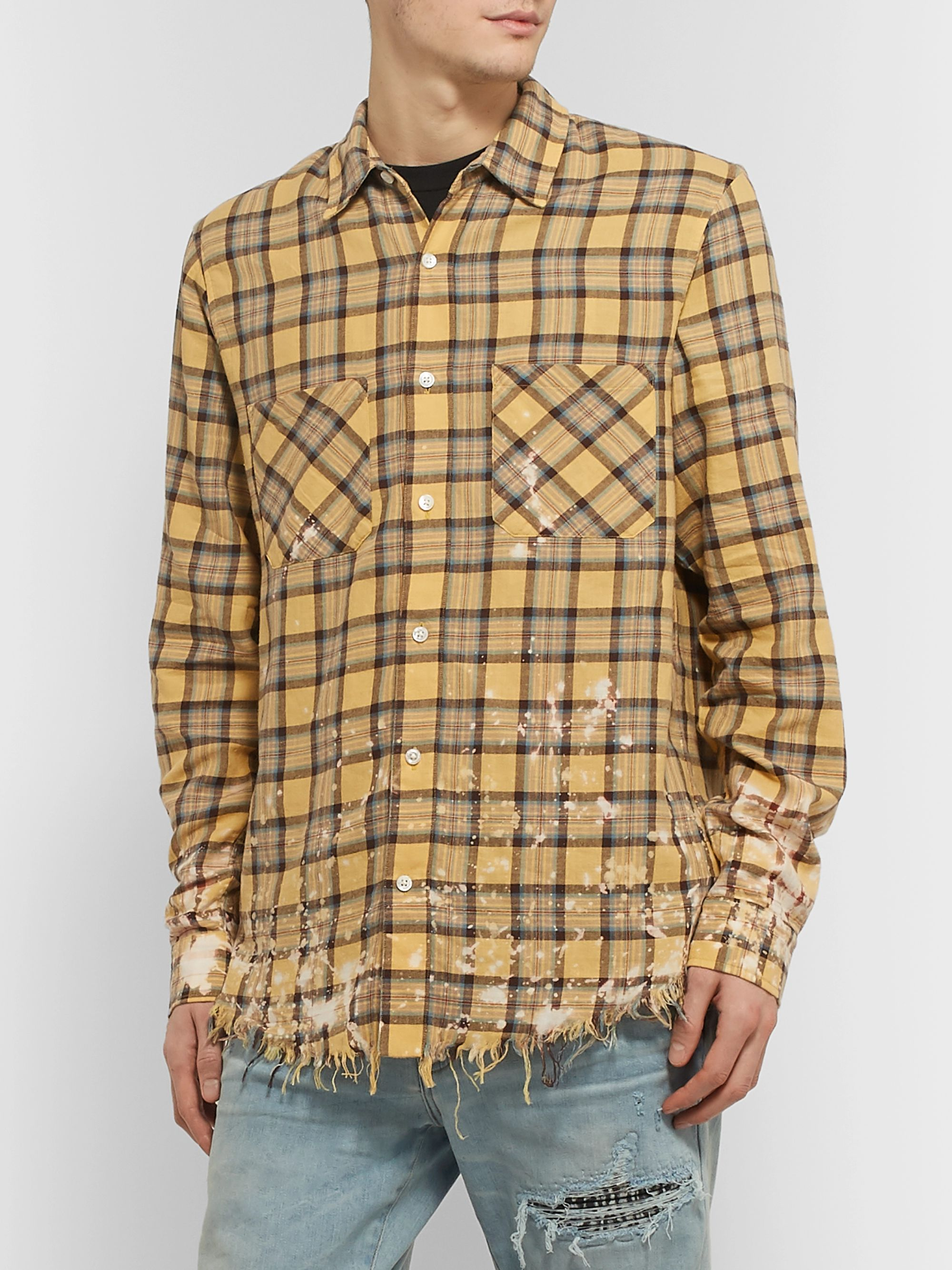 AMIRI Logo-Appliquéd Distressed Checked Cotton and Linen-Blend Flannel Shirt