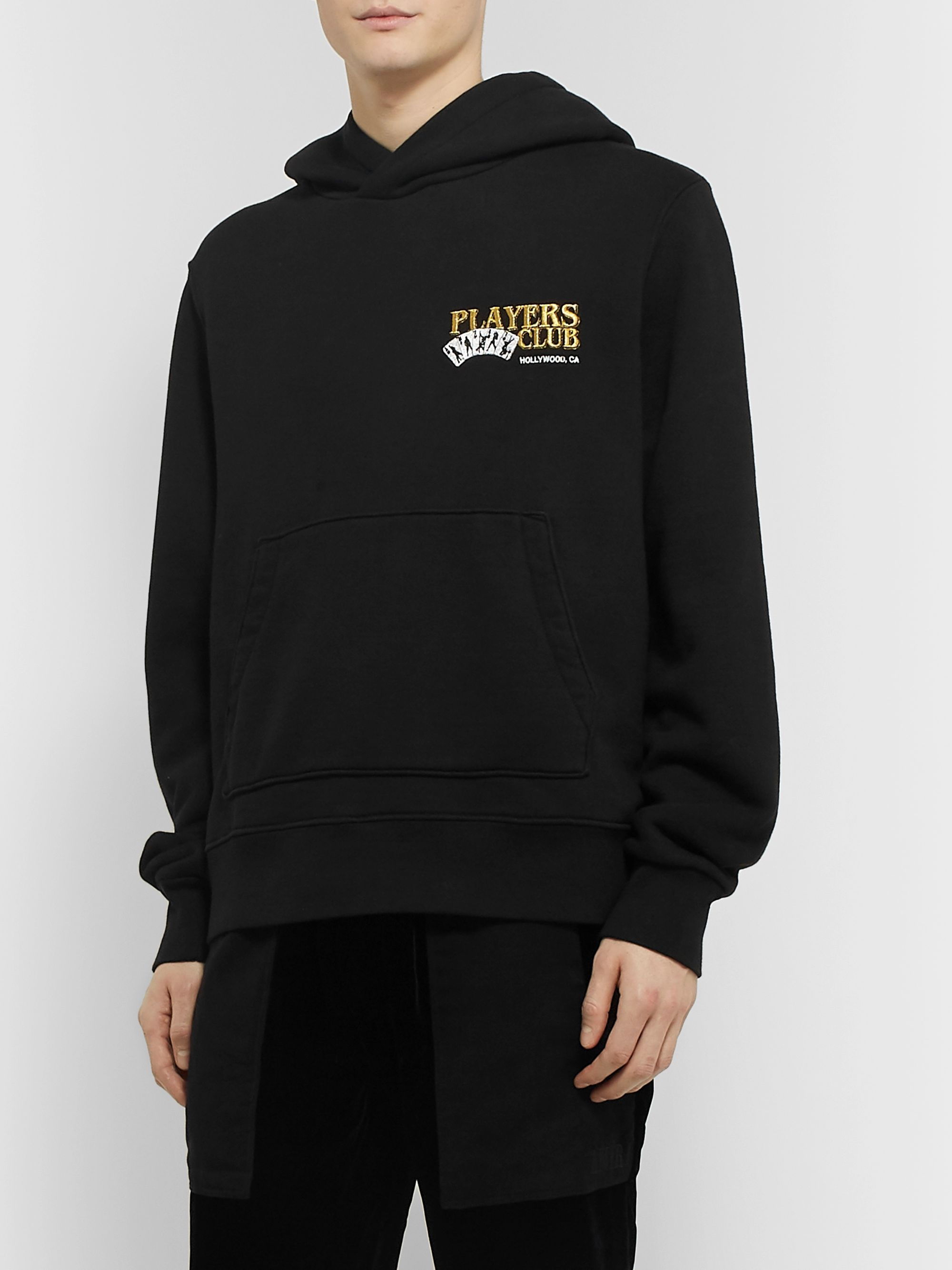 AMIRI + Mötley Crüe Embroidered Loopback Cotton-Jersey Hoodie