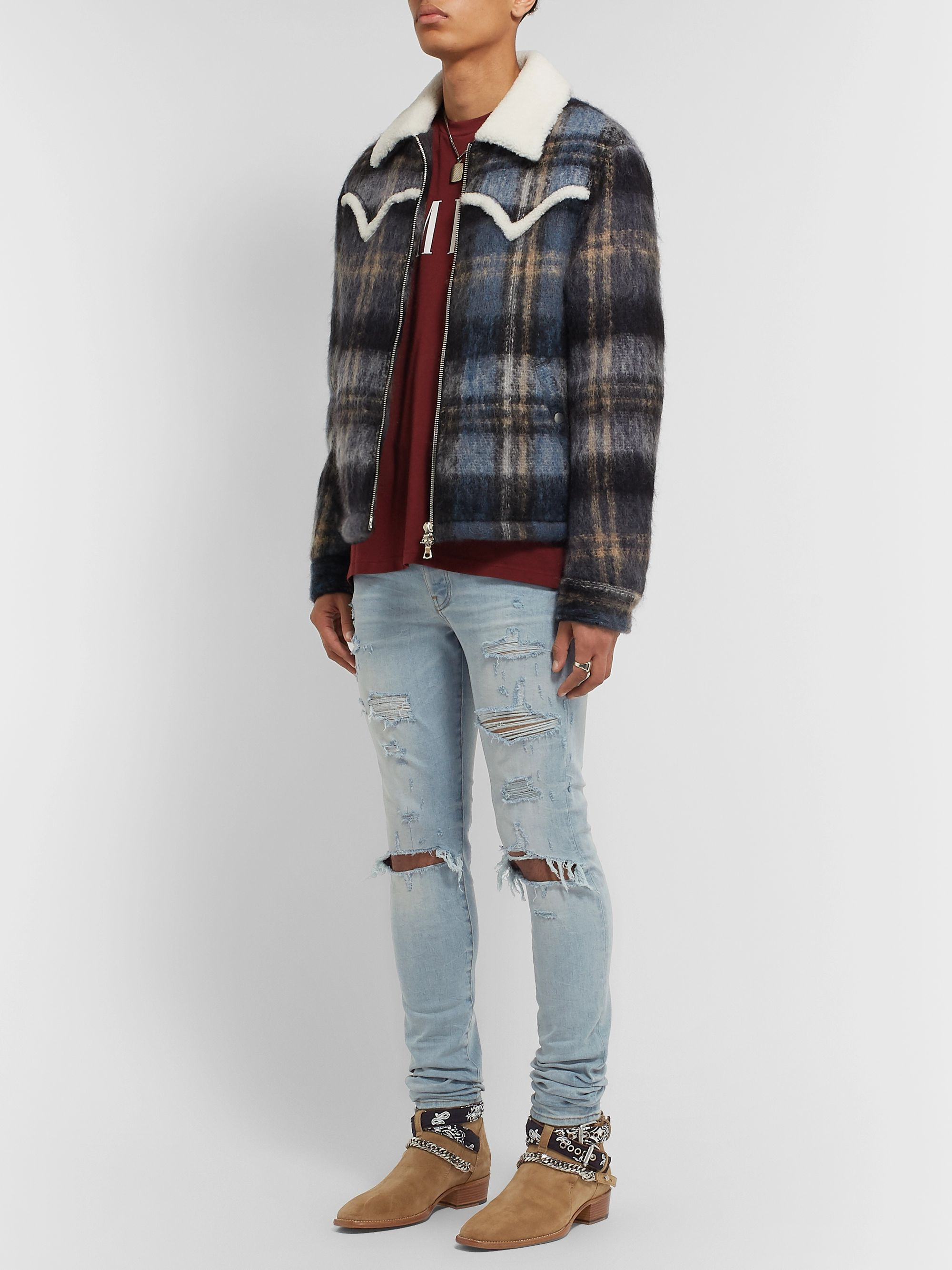 AMIRI Thrasher Plus Skinny-Fit Distressed Stretch-Denim Jeans